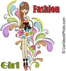 vacker, flicka, fashionabel