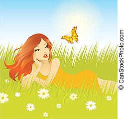 vacker, flicka, gräs, avkopplande