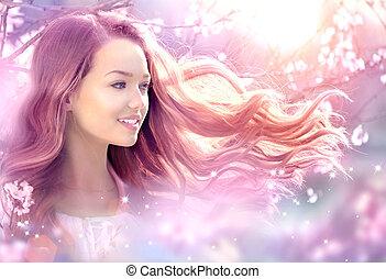vacker, flicka, in, fantasi, magisk, fjäder, trädgård