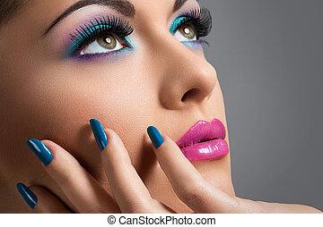 vacker, flicka, med, färgrik, smink
