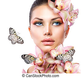 vacker, flicka, med, orkidé, blomningen, och, fjäril