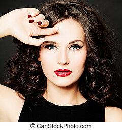 vacker, flicka, mode, model., kvinna, med, smink, och, frisyr