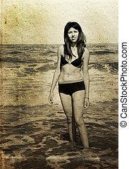 vacker, flicka, på, den, strand., foto, in, gammal, färg...