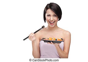 vacker, flicka, sushi, äta, matpinnar