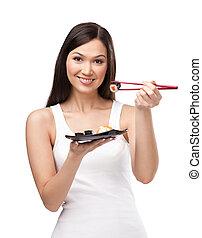 vacker, flicka, sushi, matpinnar, holdingen