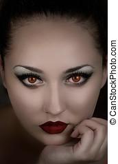 vacker, flicka, vampire., bokpärm