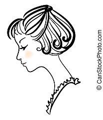 vacker, flicka, vektor, illustration, ansikte
