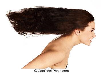 vacker, flygande hår, brunett, länge