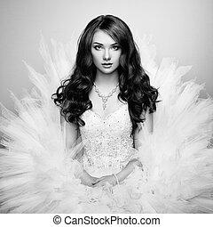 vacker, foto, bride., stående, bröllop