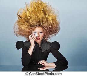 vacker, foto, hår, kvinna, magnifik