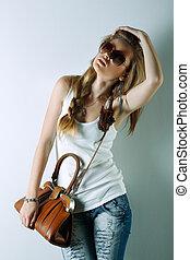 vacker, foto, stil, mode, flicka