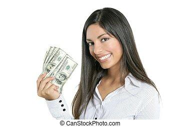vacker, framgång, affärskvinna, noteringen, dollar, holdingen
