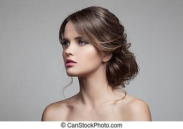 vacker, frisyr, blond, make-up., woman.