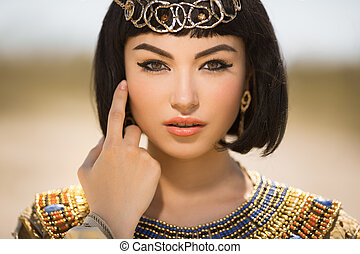 vacker, frisyr, kvinna, lik, egyptisk, cleopatra, drottning, mot, mode, smink, utomhus, öken