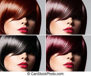 vacker, frisyr, kvinna, naturlig, collage, rak, ung, hår färga, begrepp, glatt, blandad