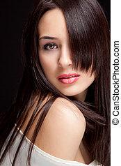 vacker, frisyr, kvinna, sensuell, en