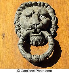 vacker, gammal, dörr, portklapp