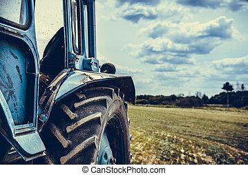 vacker, gammal, traktor, fält, synhåll