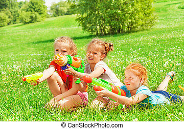 vacker, gräs, flickor, tre, leka
