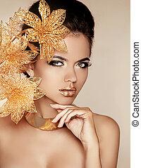 vacker, gyllene, kvinna, konst, skönhet, face., photo., flowers., makeup., skin., mode, make-up., perfekt, professionell, flicka, modell