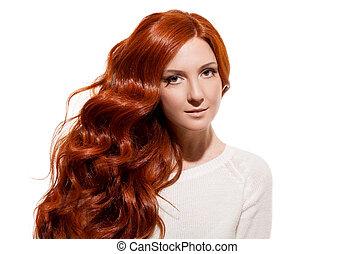 vacker, hälsosam, länge, girl., bakgrund, hair., vit