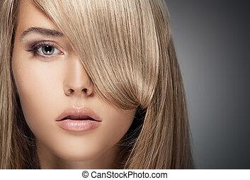 vacker, hälsosam, länge, girl., blond, hair.