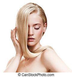 vacker, hälsosam, långt hår, girl., blondin