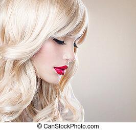 vacker, hälsosam, långt hår, vågig, blond, hair., flicka, vit