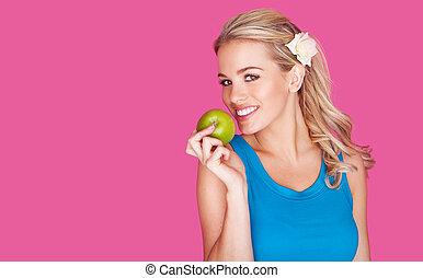vacker, hälsosam, ung kvinna, med, en, äpple