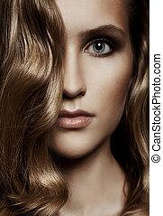 vacker, hälsosam, woman., hår, länge