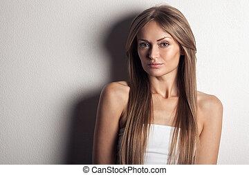 vacker, hälsosam, woman., länge, hair.