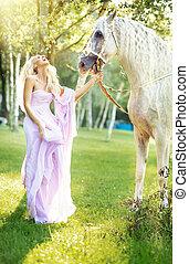 vacker, häst, kvinna, fabulös