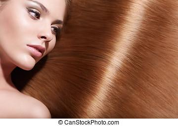 vacker, hår