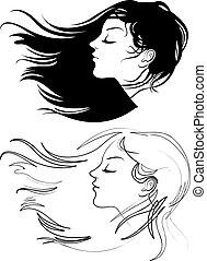 vacker, hår, flicka, länge