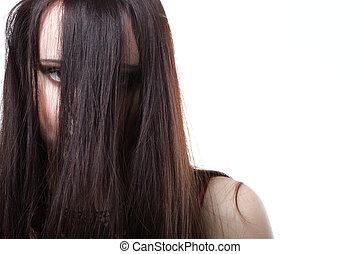 vacker, hår, kvinna, brunett, länge
