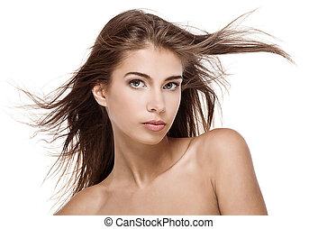 vacker, hår, kvinna, fladdra, isolerat