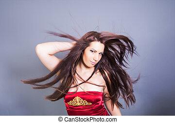 vacker, hår, kvinna, fladdra