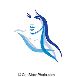vacker, hår, kvinna, länge