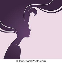 vacker, hår, kvinna, silhuett