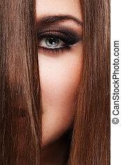 vacker, hår, kvinna, ung