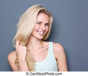 vacker, hår, le womanen, blond