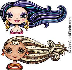 vacker, hår, styl, flickor, kylig