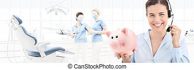 vacker, hörlurar med mikrofon, kvinna, bakgrund, nät, begrepp, baner, dental, tandläkare, oss, besparingar, klinik, kontakta, nasse, mall, stol, le, tandläkare, bank, omsorg