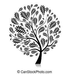 vacker, höst, design, träd, din