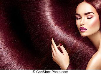 vacker, hair., skönhet, brunett, kvinna, med, länge, rak, brunt hår, som, bakgrund