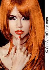 vacker, haircut., hairstyle., hälsosam, länge, secret., hair., stilig, modell, fringe., woman.