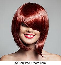 vacker, haircut., kvinna, hairstyle., fringe., kort, hair., le, röd