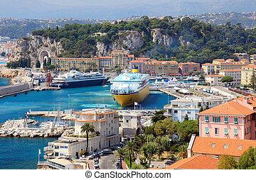 vacker, hamn, od, trevlig, med, stor, kryssning skeppar,...