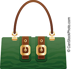 vacker, handväska, portmonnä