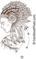 vacker, headdress., huvud, grenverk, mystisk, hår, ...